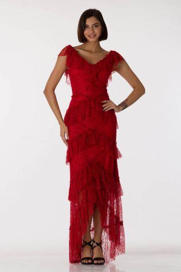 فستان سهرة أحمر برقبة على شكل V من الدانتيل - Thumbnail