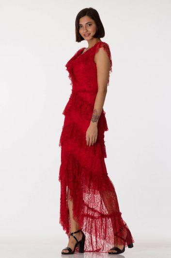 shecca - فستان سهرة أحمر برقبة على شكل V من الدانتيل (1)