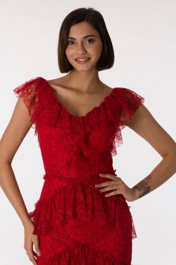 Красное вечернее платье с кружевным V-образным вырезом - Thumbnail