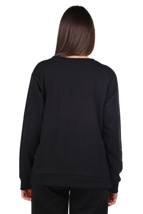 Черный женский свитшот с принтом сбоку и завязками