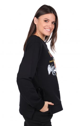 MARKAPIA WOMAN - Side Tie Printed Black Women's Sweatshirt (1)