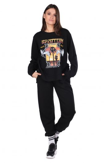 Side Tie Printed Black Women's Sweatshirt - Thumbnail