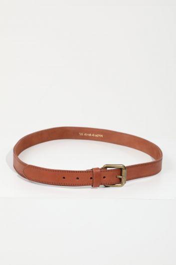 حزام جلد بني للرجال - Thumbnail