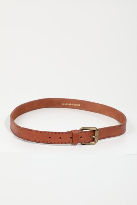 Мужской коричневый кожаный ремень