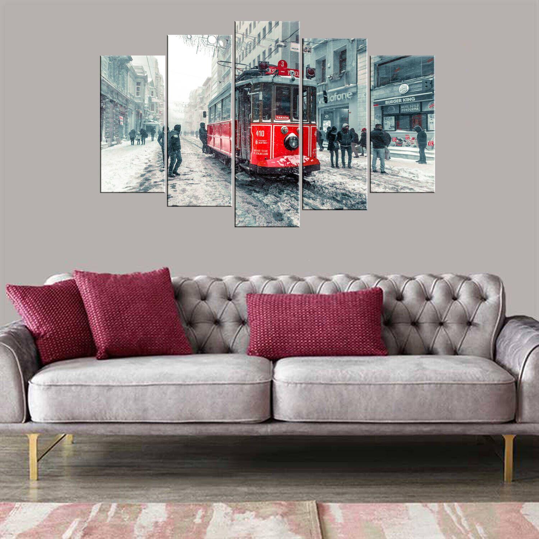 Taksim Tüneli Kar Manzaralı 5 Parçalı Mdf Tablo