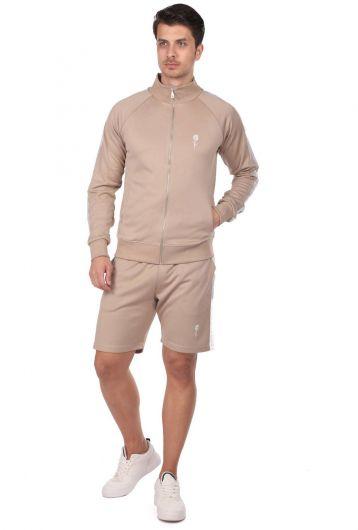 Мужской спортивный костюм с высоким воротником и полосками по бокам - Thumbnail