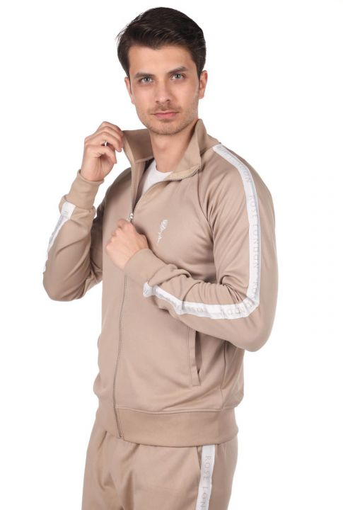 Side Stripe High Collar Men's Tracksuit Set
