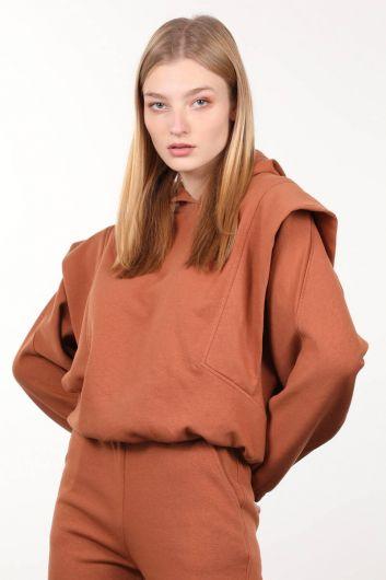 MARKAPIA WOMAN - Cinnamon Wadded Hooded Women's Sweatshirt (1)