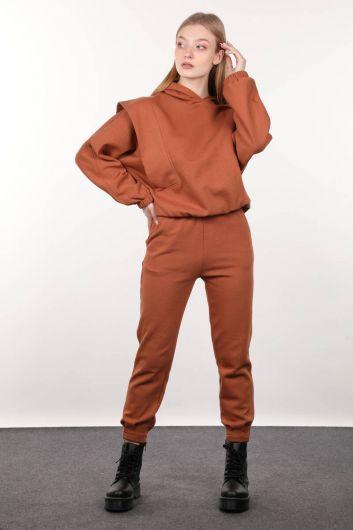 Cinnamon Wadded Hooded Women's Sweatshirt - Thumbnail
