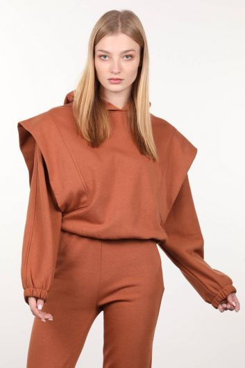 Tarçın Vatkalı Kapüşonlu Kadın Sweatshirt - Thumbnail