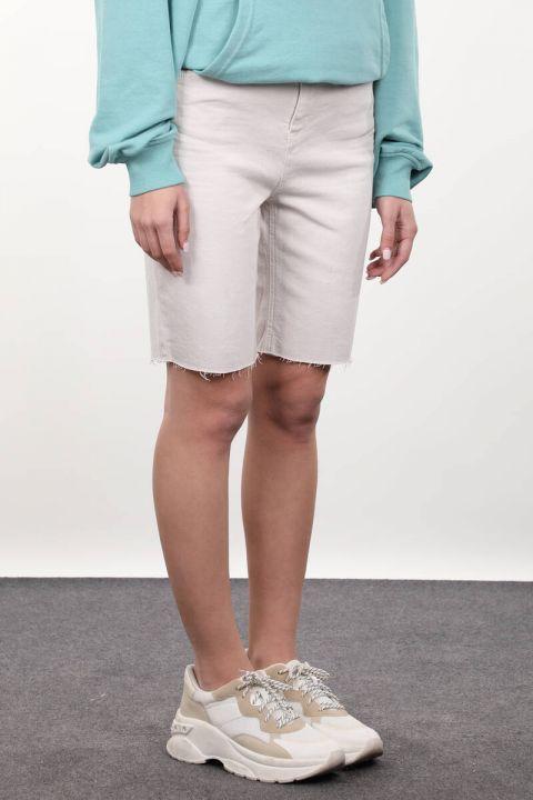 Taş Rengi Kadın Jean Şort