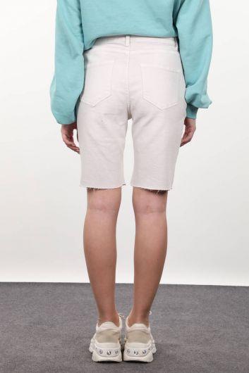 Taş Rengi Kadın Jean Şort - Thumbnail