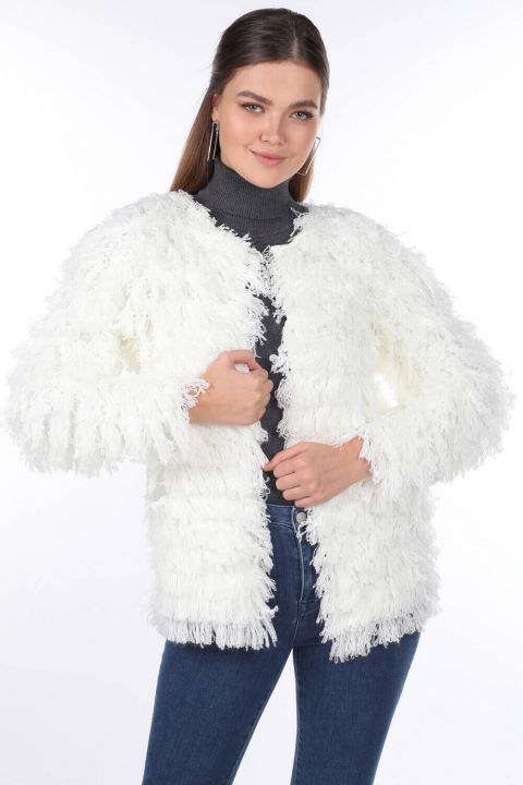 Ecru Fringed Women Knitwear Cardigan