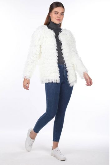 Ecru Fringed Women Knitwear Cardigan - Thumbnail