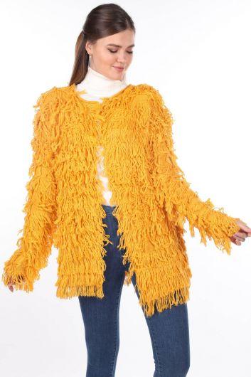 Yellow Fringed Women's Knitwear Cardigan - Thumbnail