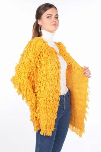 MARKAPIA WOMAN - Yellow Fringed Women's Knitwear Cardigan (1)