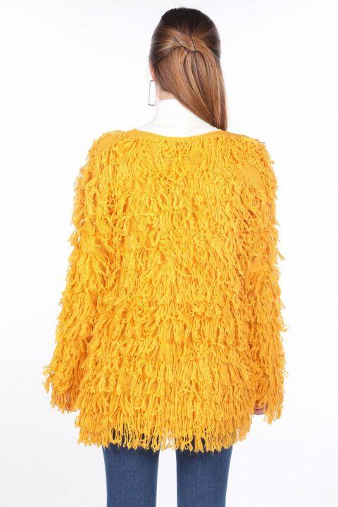 Yellow Fringed Women's Knitwear Cardigan