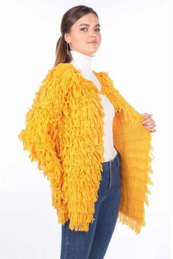 MARKAPIA WOMAN - Желтый женский вязаный кардиган с бахромой (1)