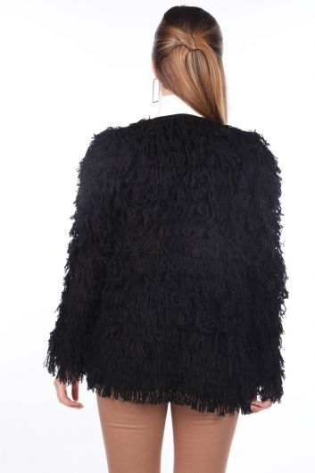 Fringed Black Women's Knitwear Cardigan - Thumbnail
