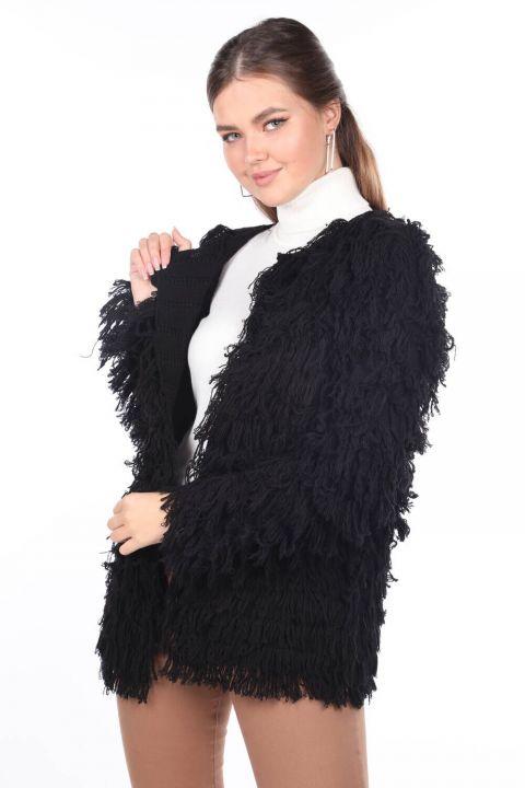 Fringed Black Women's Knitwear Cardigan