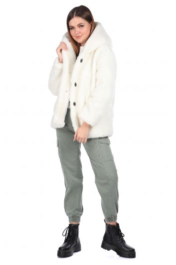 Teddy Peluş Oversize Kapüşonlu Beyaz Kadın Kaban - Thumbnail