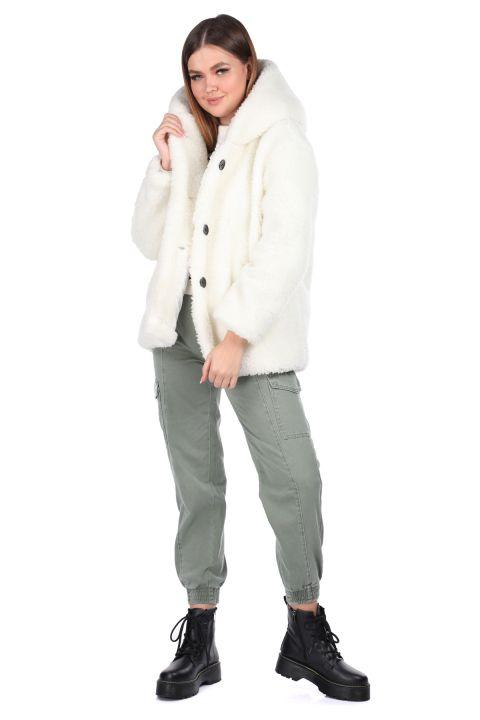 Teddy Peluş Oversize Kapüşonlu Beyaz Kadın Kaban
