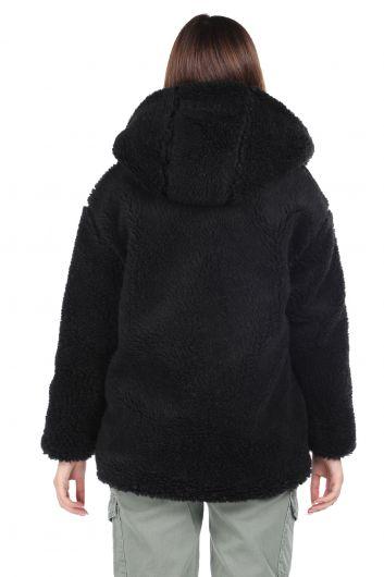 Teddy Peluş Oversize Siyah Kapüşonlu Kadın Kaban - Thumbnail