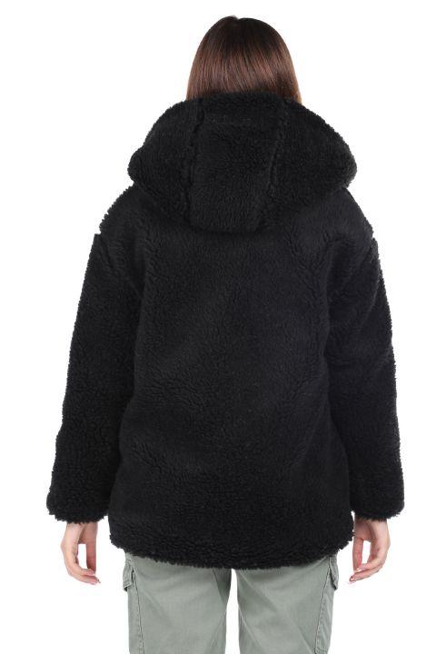 Teddy Peluş Oversize Siyah Kapüşonlu Kadın Kaban