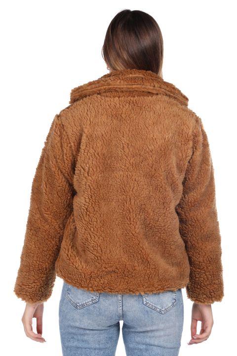 Teddy Peluş Oversize Kısa Kahverengi Kadın Kaban