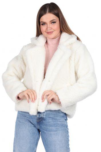 Teddy Peluş Oversize Kısa Beyaz Kadın Kaban - Thumbnail