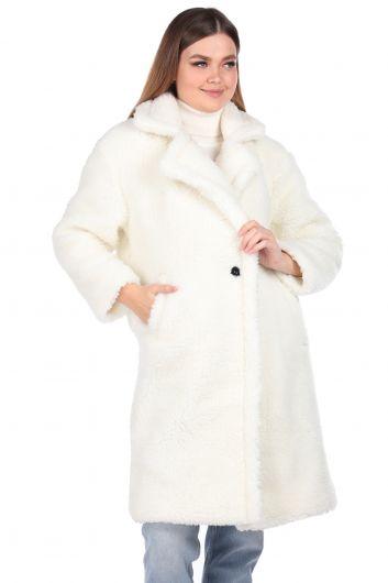 Teddy Plush Oversize White Woman Coat - Thumbnail