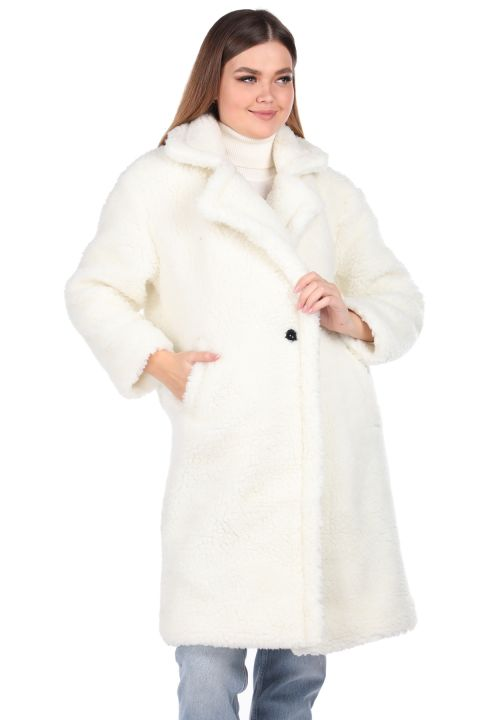 Teddy Plush Oversize White Woman Coat