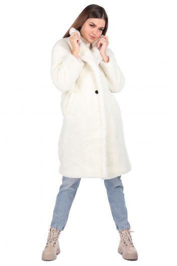 Плюшевое белое женское пальто Teddy - Thumbnail