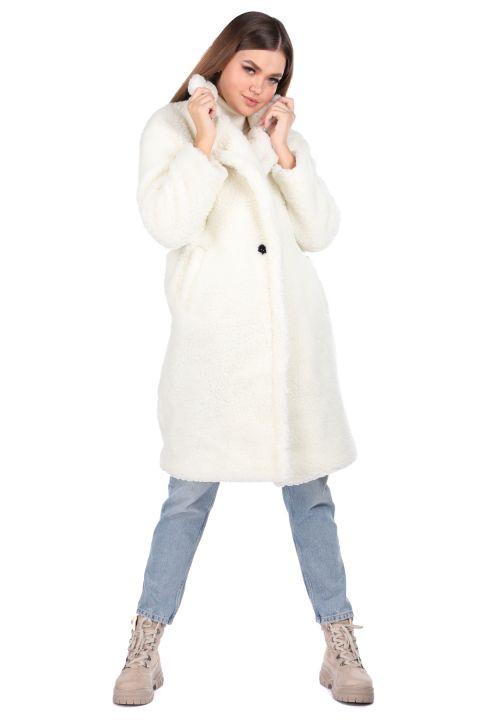 Плюшевое белое женское пальто Teddy