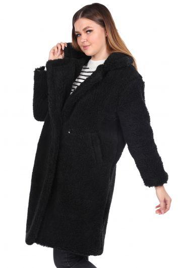 MARKAPIA WOMAN - تيدي قطيفة معطف نسائي أسود كبير الحجم (1)