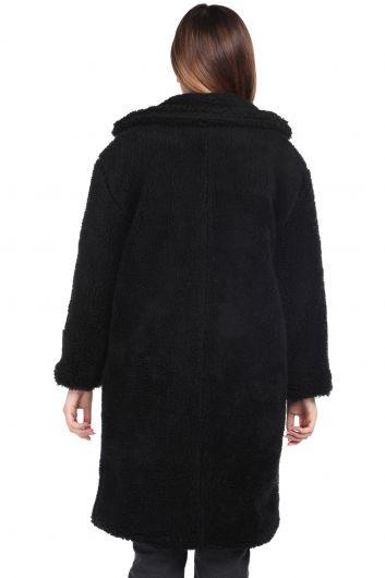 تيدي قطيفة معطف نسائي أسود كبير الحجم - Thumbnail