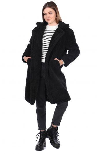 Teddy Plush Oversize Black Woman Coat - Thumbnail
