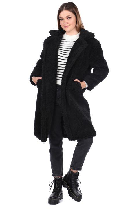 Teddy Plush Oversize Black Woman Coat