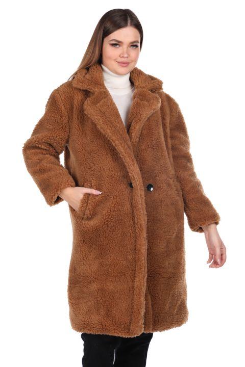 تيدي قطيفة معطف نسائي بني كبير الحجم