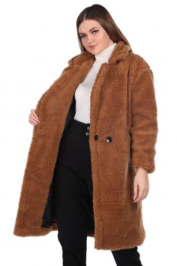 MARKAPIA WOMAN - تيدي قطيفة معطف نسائي بني كبير الحجم (1)