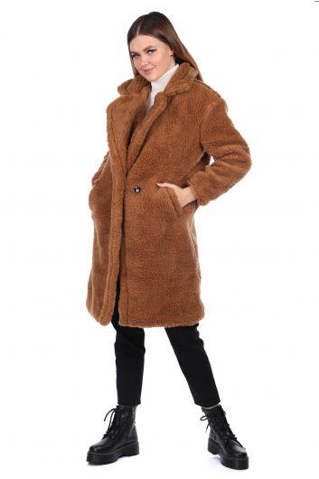 تيدي قطيفة معطف نسائي بني كبير الحجم - Thumbnail