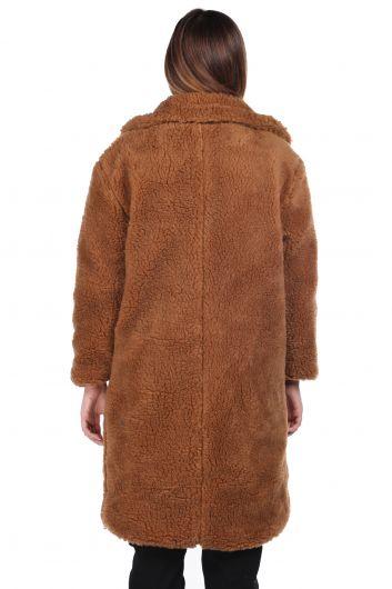 Teddy Plush Oversize Brown Woman Coat - Thumbnail