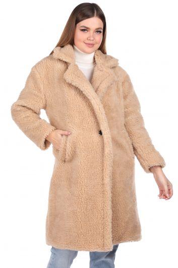 Плюшевое женское пальто оверсайз с плюшевым принтом Teddy - Thumbnail