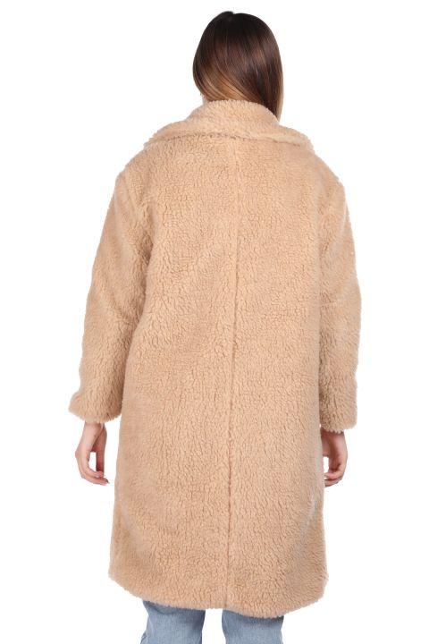 Плюшевое женское пальто оверсайз с плюшевым принтом Teddy
