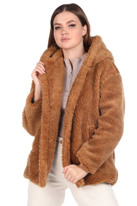 Teddy Plush Oversize Hooded Brown Woman Coat