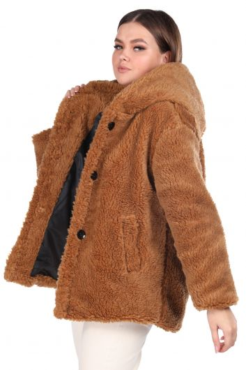 Teddy Plush Oversize Hooded Brown Woman Coat - Thumbnail