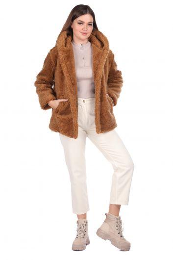 Плюшевое женское пальто оверсайз с капюшоном Teddy - Thumbnail