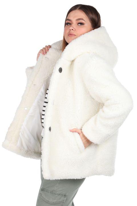 Teddy Plush Oversize Hooded White Woman Coat