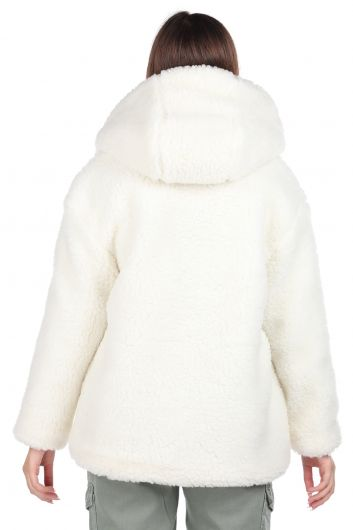 Teddy Plush Oversize Hooded White Woman Coat - Thumbnail