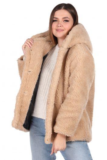MARKAPIA WOMAN - Teddy Plush Oversize Hooded Beige Woman Coat (1)